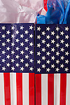 Shopping American Flag gift bags with red,white and blue tissue