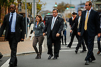 NJ's governor Chris Christie walks next to his wife while he visited the Jersey shore's reconstruction, marking the second anniversary of Sandy storm in New Jersey. 10.29.2014. Eduardo MunozAlvarez/VIEWpress