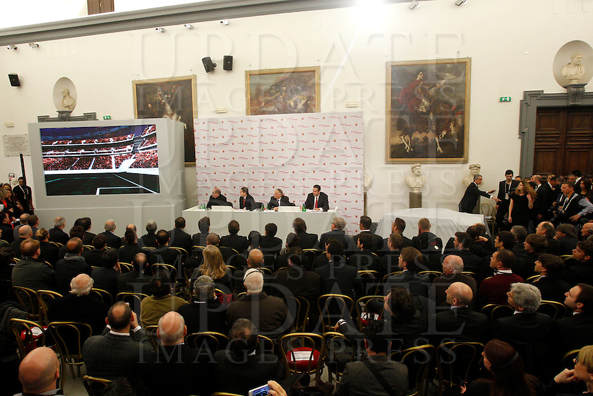Presentazione del progetto del nuovo Stadio della Roma, in Campidoglio, Roma, 26 marzo 2014.<br /> Presentation of the project of the AS Roma football club's new stadium at the Capitol Hill, Rome, 26 March 2014.<br /> UPDATE IMAGES PRESS/Riccardo De Luca