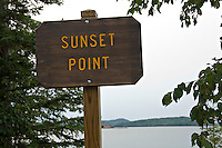 A sign marks Sunset Point at Presque Isle Park in Marquette Michigan.