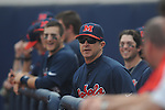 Ole Miss' coach Mike Bianco (5) looks up at the scoreboard vs. Lipscomb at Oxford-University Stadium in Oxford, Miss. on Saturday, March 9, 2013. Ole Miss won 8-5. The win was the 486th for Mike Bianco as the Rebel head coach, making him the university's all time winningest baseball coach.