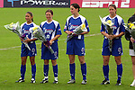 Courage players recieve their 2002 Founders Cup championship rings at SAS Stadium in Cary, North Carolina on 4/5/03 during a ceremony held before a game between the Carolina Courage and Washington Freedom. The Washington Freedom won the game 2-1. Pictured (left to right) are Tiffany Roberts, Hege Riise, Birgit Prinz, and Danielle Fotopoulos.