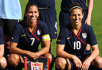 Shannon Boxx and Carli Lloyd. The USWNT defeated Iceland (2-0) at Vila Real Sto. Antonio in their opener of the 2010 Algarve Cup on February 24, 2010.