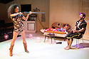 London, UK. 21.11.2013. TROUT STANLEY, by Claudia Dey, directed by Matt Steinberg, opens at Southwark Playhouse. Picture shows: Vinette Robinson (Grace Ducharme), Sinead Matthews (Sugar Ducharme) and Dylan Smith (Trout Stanley). Photograph © Jane Hobson. .