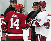 CJ Hanafin, Alexander Dahl (SLU - 14), Devin Tringale (Harvard - 22) - The Harvard University Crimson defeated the St. Lawrence University Saints 6-3 (EN) to clinch the ECAC playoffs first seed and a share in the regular season championship on senior night, Saturday, February 25, 2017, at Bright-Landry Hockey Center in Boston, Massachusetts.