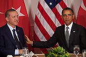 United States President Barack Obama, right,  holds a bilateral meeting with Prime Minister Recep Tayyip Erdogan of Turkey, left, at the United Nations General Assembly in New York, New York on Tuesday, September 20, 2011. .Credit: Allan Tannenbaum / Pool via CNP