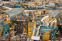Boeing 777 fuselage sections being prepared for assembly at Boeing Everett plant Everett Washington