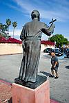Statue of Father Junipero Serra outside the Mission in San Grabriel, CA