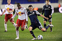 Marko Perovic (29) of the New England Revolution plays athe ball. The New York Red Bulls defeated the New England Revolution 3-0 during a U. S. Open Cup qualifier round match at Red Bull Arena in Harrison, NJ, on May 12, 2010.