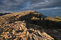 Rocky summit of Støvla mountain peak, Moskenesøy, Lofoten Islands, Norway