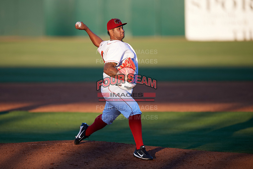 Florida Fire Frogs starting pitcher Luiz Gohara (46) delivers a pitch during the teams inaugural game against the Daytona Tortugas on April 6, 2017 at Osceola County Stadium in Kissimmee, Florida.  Daytona defeated Florida 3-1.  (Mike Janes/Four Seam Images)