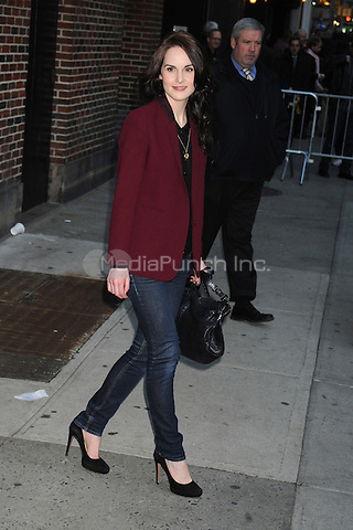 Michelle Dockery at the Ed Sullivan Theater for an appearance on Late Show With David Letterman in New York City. February 9, 2012. © mpi01/MediaPunch Inc