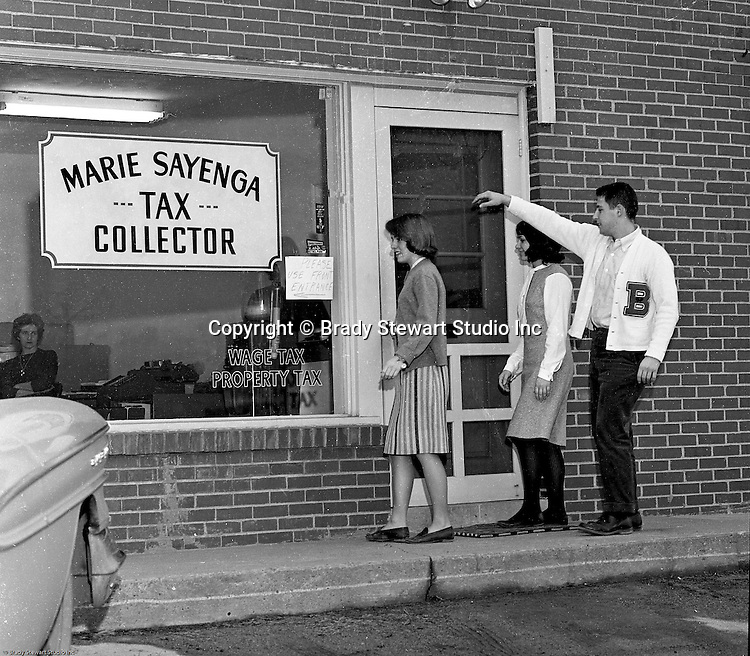 Bethel Park PA:  View of three students walking into Marie Sayenga's Tax Collection Office - 1964.