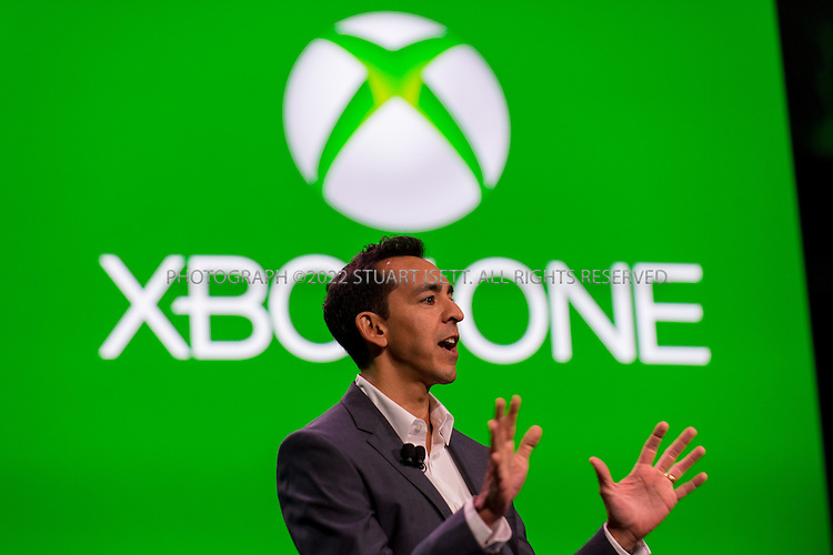 5/21/2013--Redmond, WA, USA..At Microsoft's Redmond Campus in WASH., the company unveiled it's next generation XBox gaming system, the XBox One. The console's new features include voice command, cloud integration, universal gestures and the familiar Xbox Live home screen...Here, Microsoft corporate vice president Yusuf Mehdi talks about the new XBOx One  console...Photograph ©2013 Stuart Isett. All rights reserved.