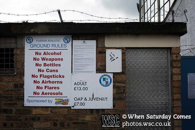 Forfar Athletic 1 Edinburgh City 2, 02/02/2017. Station Park, SPFL League 2. A sign indicating ground rules and restrictions outside Station Park, pictured before Forfar Athletic took on Edinburgh City in an SPFL League 2 fixture. It was the club's sixth and final meeting of City's inaugural season since promotion from the Lowland League the previous season. City came from behind to win this match 2-1, watched by a crowd of 446. Photo by Colin McPherson.