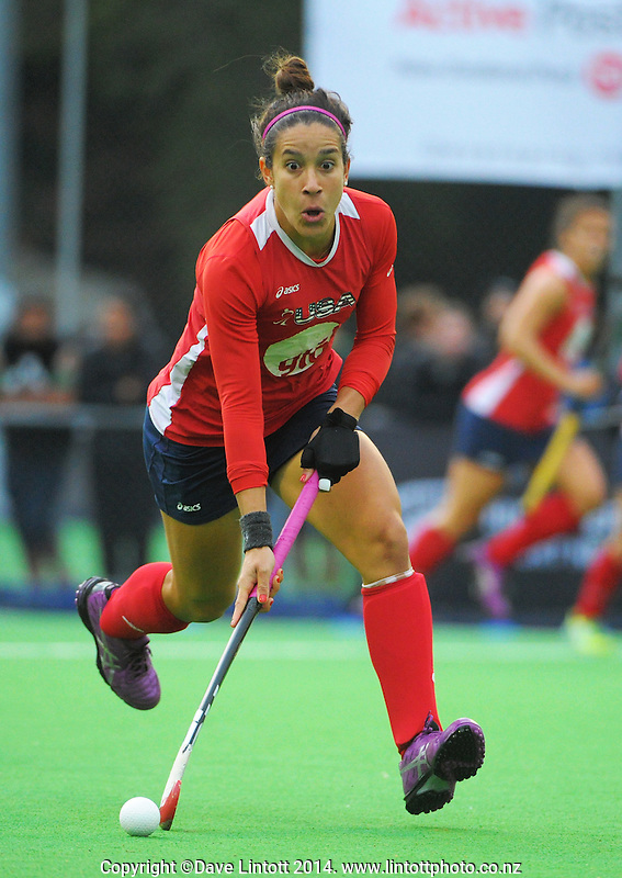 Melissa Gonzalez in action during the international women's hockey match between the NZ Black Sticks and USA at Endeavour Twin Turfs, Palmerston North, New Zealand on Thursday, 23 October 2014. Photo: Dave Lintott / lintottphoto.co.nz