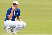 Jordan Spieth waits to putt on the 1st green during the 2016 U.S. Open in Oakmont, Pennsylvania on June 16, 2016. (Photo by Jared Wickerham / DKPS)