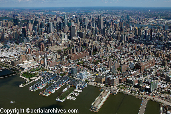 aerial photograph Chelsea Piers, midtown Manhattan skyline, New York City