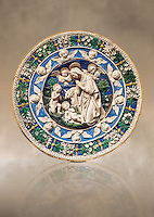Enamelled terracotta relief panel of the Virgin's adoration of the Child in the presence of the infant Jean the Baptist by Andrea and Giovanni della Robbia, Florence circa 1500.  Inv LP 3410,  The Louvre Museum, Paris.