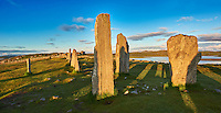 Outer row of stones, 27 metres long,  leading to the central stone circle overlooking Loch Roag, circa 2900BC. Calanais Neolithic Standing Stone (Tursachan Chalanais) , Isle of Lewis, Outer Hebrides, Scotland.