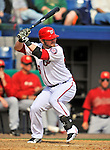 4 March 2012: Washington Nationals infielder Jarrett Hoffpauir in action against the Houston Astros at Space Coast Stadium in Viera, Florida. The Astros defeated the Nationals 10-2 in Grapefruit League action. Mandatory Credit: Ed Wolfstein Photo