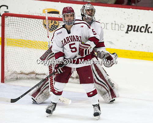 Clay Anderson (Harvard - 5), Merrick Madsen (Harvard - 31) - The Harvard University Crimson defeated the Yale University Bulldogs 6-4 in the opening game of their ECAC quarterfinal series on Friday, March 10, 2017, at Bright-Landry Hockey Center in Boston, Massachusetts.