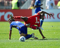 05 June 2010: Kansas City Wizards forward Josh Wolff #16 tangles with Toronto FC midfielder Amadou Sanyang #22 during a game between the Kansas City Wizards and Toronto FC at BMO Field in Toronto..The game ended in a 0-0 draw.