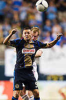Jack McInerney (9) of the Philadelphia Union goes up for a header. during a Major League Soccer (MLS) match at PPL Park in Chester, PA, on August 24, 2012.