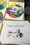 Garden City, New York, U.S. January 20, 2014. At the program Dreaming with Dr. Martin Luther King, Jr. children explore Dr. King's life and read his 'I Have a Dream!' speech, and then create an artwork of peace, at the Long Island Children's Museum, for the American official federal holiday Birthday of Martin Luther King, Jr.