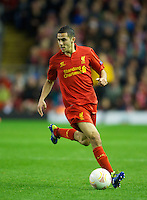 LIVERPOOL, ENGLAND - Thursday, October 4, 2012: Liverpool's Oussama Assaidi in action against Udinese Calcio during the UEFA Europa League Group A match at Anfield. (Pic by David Rawcliffe/Propaganda)