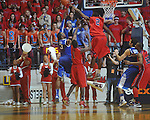 Ole MIss forward Reginald Buckner (2)  blocks Kentucky's Terrence Jones (3)  shot at the C.M. &quot;Tad&quot; Smith Coliseum in Oxford, Miss. on Tuesday, February 1, 2011. Ole Miss won 71-69.