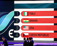 USA ends up in Italy's grup. The final draw for the 2006 FIFA World Cup took place in the Congress Centre in Leipzig, Germany on December 9 2005.