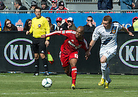 30 March 2013:Toronto FC forward Robert Earnshaw #10 and Los Angeles Galaxy forward Jack McBean #32 in action during an MLS game between the LA Galaxy and Toronto FC at BMO Field in Toronto, Ontario Canada..The game ended in a 2-2 draw..
