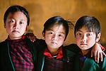 Portrait of some young friends, Paro Valley, Bhutan