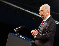 President of Israel Shimon Peres speaks at the American Israel Public Affairs Committee (AIPAC) Policy Conference in Washington, D.C. on Sunday, March 4, 2012 prior to United States President Barack Obama delivering his remarks. .Credit: Ron Sachs / Pool via CNP /MediaPunch