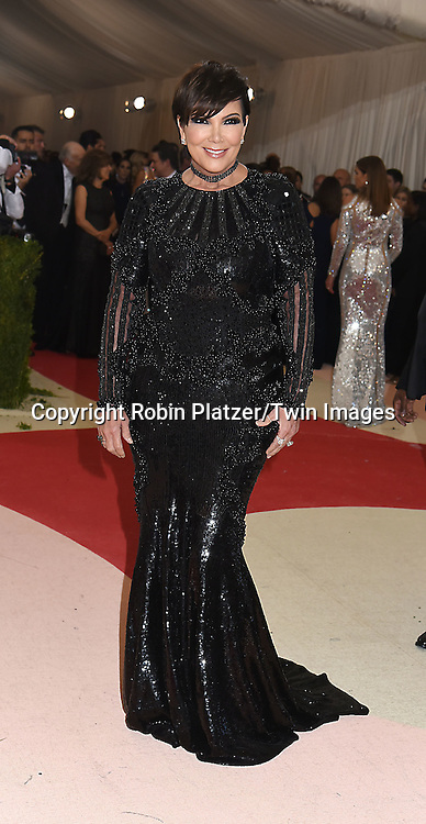Kris Jenner attends the Metropolitan Museum of Art Costume Institute Benefit Gala on May 2, 2016 in New York, New York, USA. The show is Manus x Machina: Fashion in an Age of Technology. <br /> <br /> photo by Robin Platzer/Twin Images<br />  <br /> phone number 212-935-0770