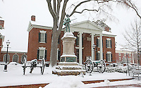 Snow covered court square  in Charlottesville, Va.