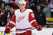Niklas Kronwall (Detroit Red Wings, #55) at warm up during ice-hockey match between Los Angeles Kings and Detroit Red Wings in NHL league, February 28, 2011 at Staples Center, Los Angeles, USA. (Photo By Matic Klansek Velej / Sportida.com)