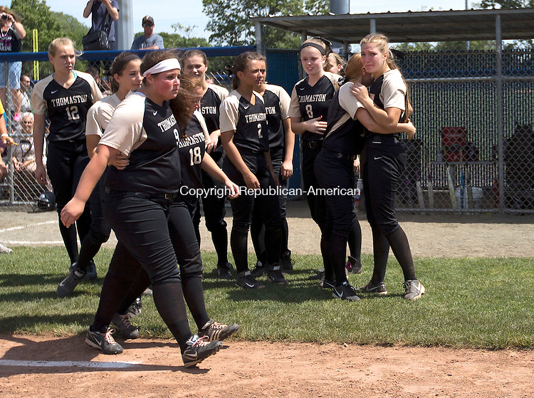 West Haven, CT- 13 June 2015-061315CM19-  Thomaston girls softball team reacts after falling to Holy Cross 4-0 at the Class S state softball final in West Haven on Saturday.  Christopher Massa Republican-American