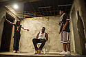 London, UK. 02.04.2014. Theatre Royal Stratford East presents Roy Williams' KINGSTON 14. Picture shows: Tyson Oba (as Boss Man), Charles Venn (as Carl) and Gamba Cole (as Adrian). Photograph © Jane Hobson.
