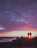 For much of the year, Cadillac Mountain in Acadia Ntaional Park, Maine is the first to receive the rays of the morning sun. No visit to the park, when the road is passable, is complete without watching the sunrise from the summit. Here, visitors gather to enjoy nature's light show.