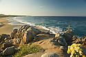 Beautiful morning light and ocean landscape.  Rancho Carisivu.  Migrino Beach, west side of peninsula.  Cabo San Lucas, Baja, Mexico