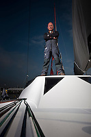 "Transat Jacques Vabre 2011. Le Havre. France.Pictures of Mike Golding onboard his Open60 ""Gamesa"""