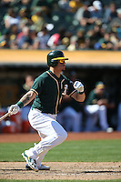OAKLAND, CA - SEPTEMBER 10:  Bruce Maxwell #63 of the Oakland Athletics bats against the Seattle Mariners during the game at the Oakland Coliseum on Saturday, September 10, 2016 in Oakland, California. Photo by Brad Mangin