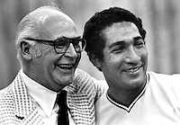Oakland Athletics owner Charlie Finley with his 1972 World Series hero Gonzalo Marquez. (photo 1972 by Ron Riesterer)