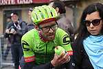 A muddy Alex Howes (USA) Cannondale-Drapac at the end of the 2017 Strade Bianche running 175km from Siena to Siena, Tuscany, Italy 4th March 2017.<br /> Picture: Eoin Clarke | Newsfile<br /> <br /> <br /> All photos usage must carry mandatory copyright credit (&copy; Newsfile | Eoin Clarke)