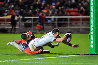 Kahn Fotuali'i of Bath Rugby scores a try in the first half. European Rugby Challenge Cup match, between Bristol Rugby and Bath Rugby on January 13, 2017 at Ashton Gate Stadium in Bristol, England. Photo by: Patrick Khachfe / Onside Images