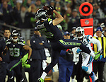 Seattle Seahawks wide receiver Jermaine Kearse (15) catches a first down pass against the  Carolina Panthers in the NFC Western Division Playoffs at CenturyLink Field  on January 10, 2015 in Seattle, Washington. The Seahawks beat the Panthers 31-17. ©2015. Jim Bryant Photo. All Rights Reserved.