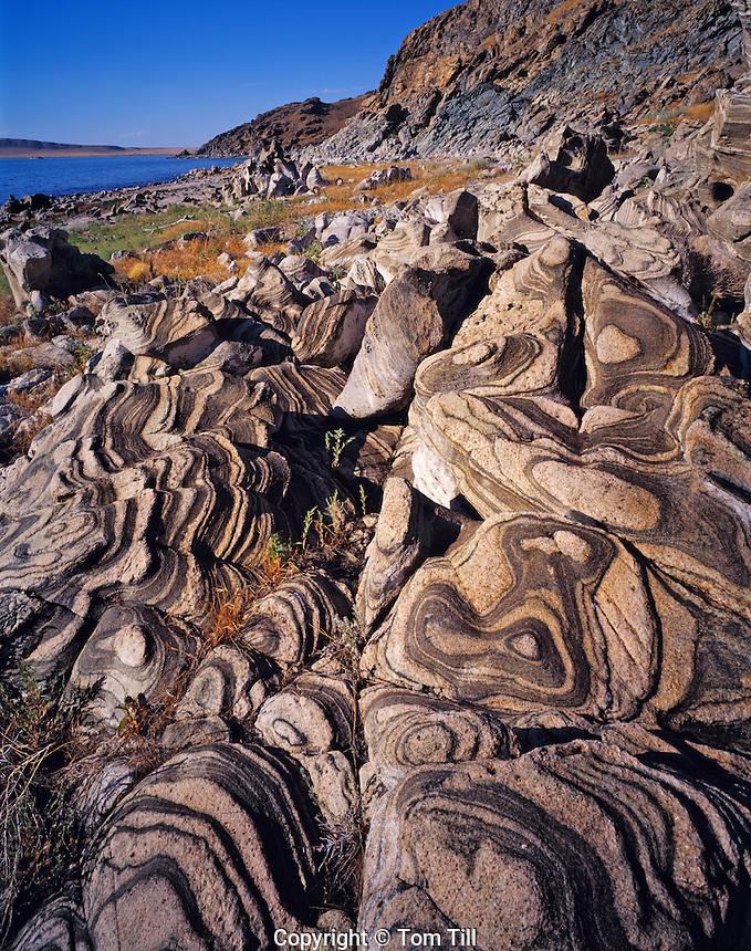 Metamorphic Rock Patterns from Lake Waves at Antelope  Island, Antelope Island State Park, Great Salt Lake, Utah