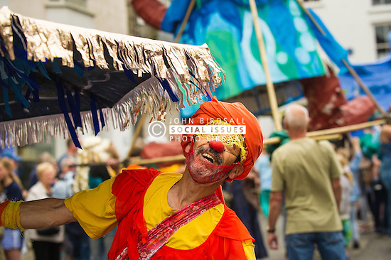 A colourful character at the Mazey Day celebrations in Penzance, Cornwall.